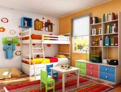 Цветовое зонирование в детской для двух детей
