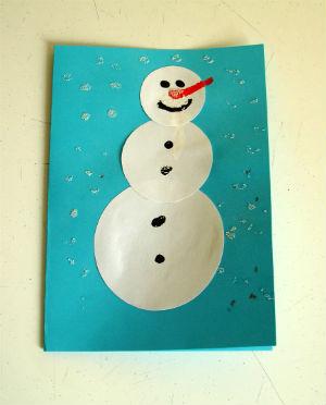 """детская новогодняя открытка """"Снеговик"""" своими руками"""