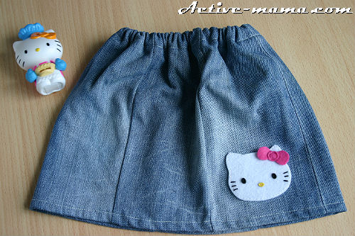 Как сшить юбку на ребенка из джинса