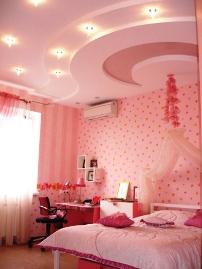 потолок из гипсокартона в детской комнате девочки