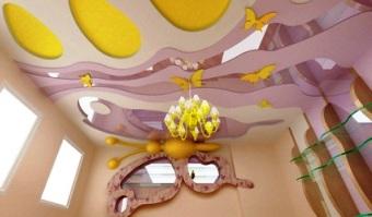 потолок с зеркалами в детской комнате