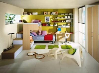Прием зонирования в детской комнате для двух детей