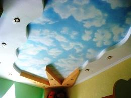 Потолок в детской: гипсокартон + натяжной потолок