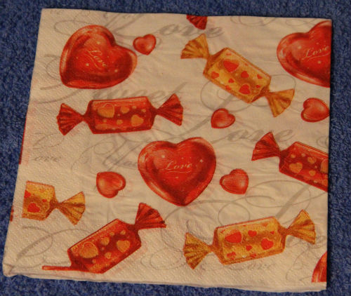 салфетка для декупажа сердечки