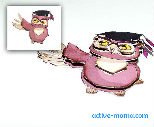 3D-сова для украшения открытки учителю