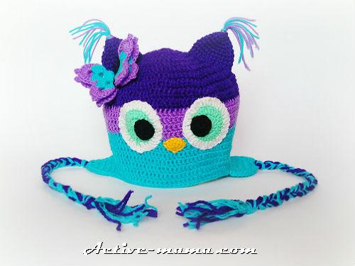 шапка-сова крючком