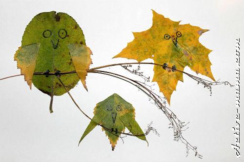 """аппликация из осенних листьев """"Птицы"""""""
