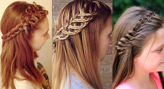 Коса на челке, коса-водопад