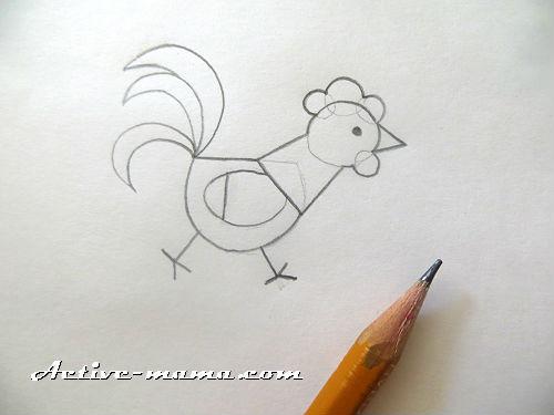петушок карандашом